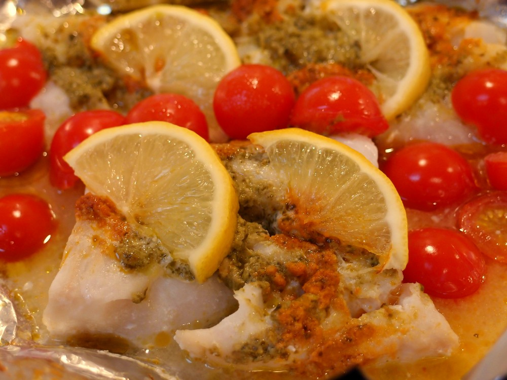 Simple Cod Fillet With Red And Green Pesto Recipe