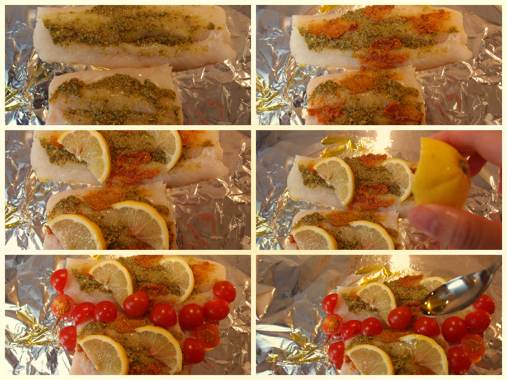 Simple cod fillet with red and green pesto recipe for Pesto fish recipes