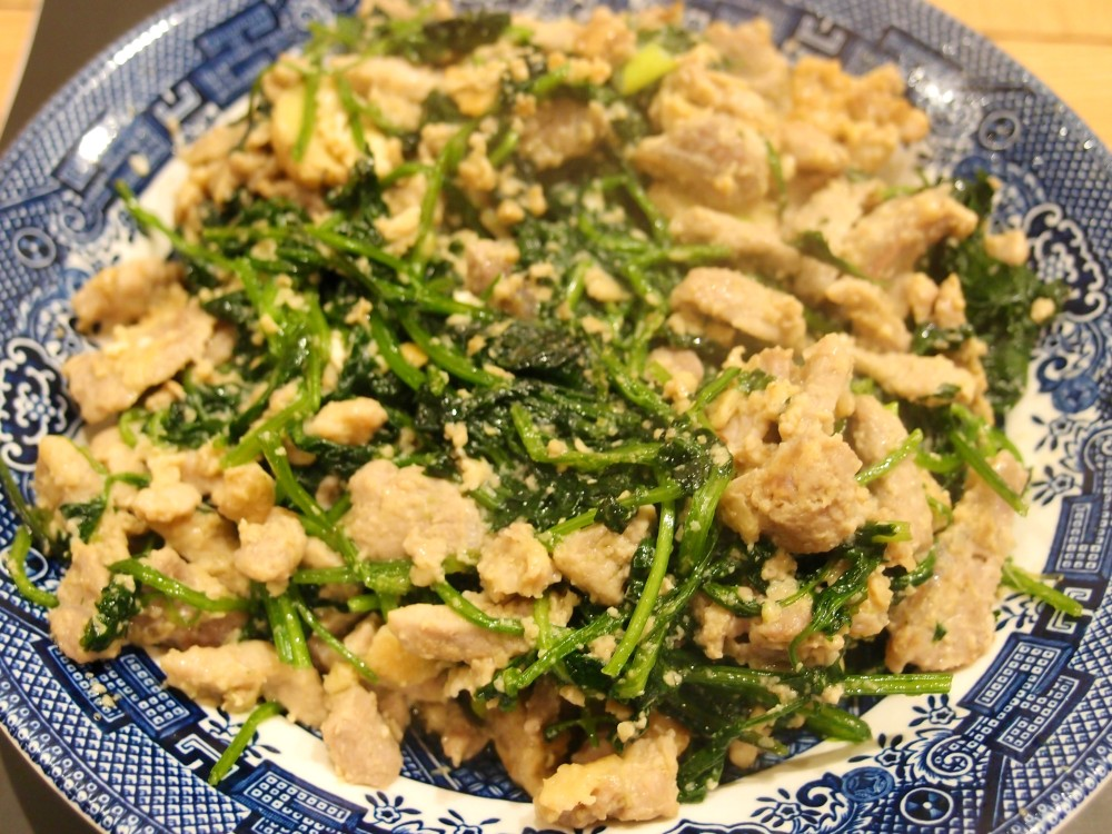 Shredded pork and coriander