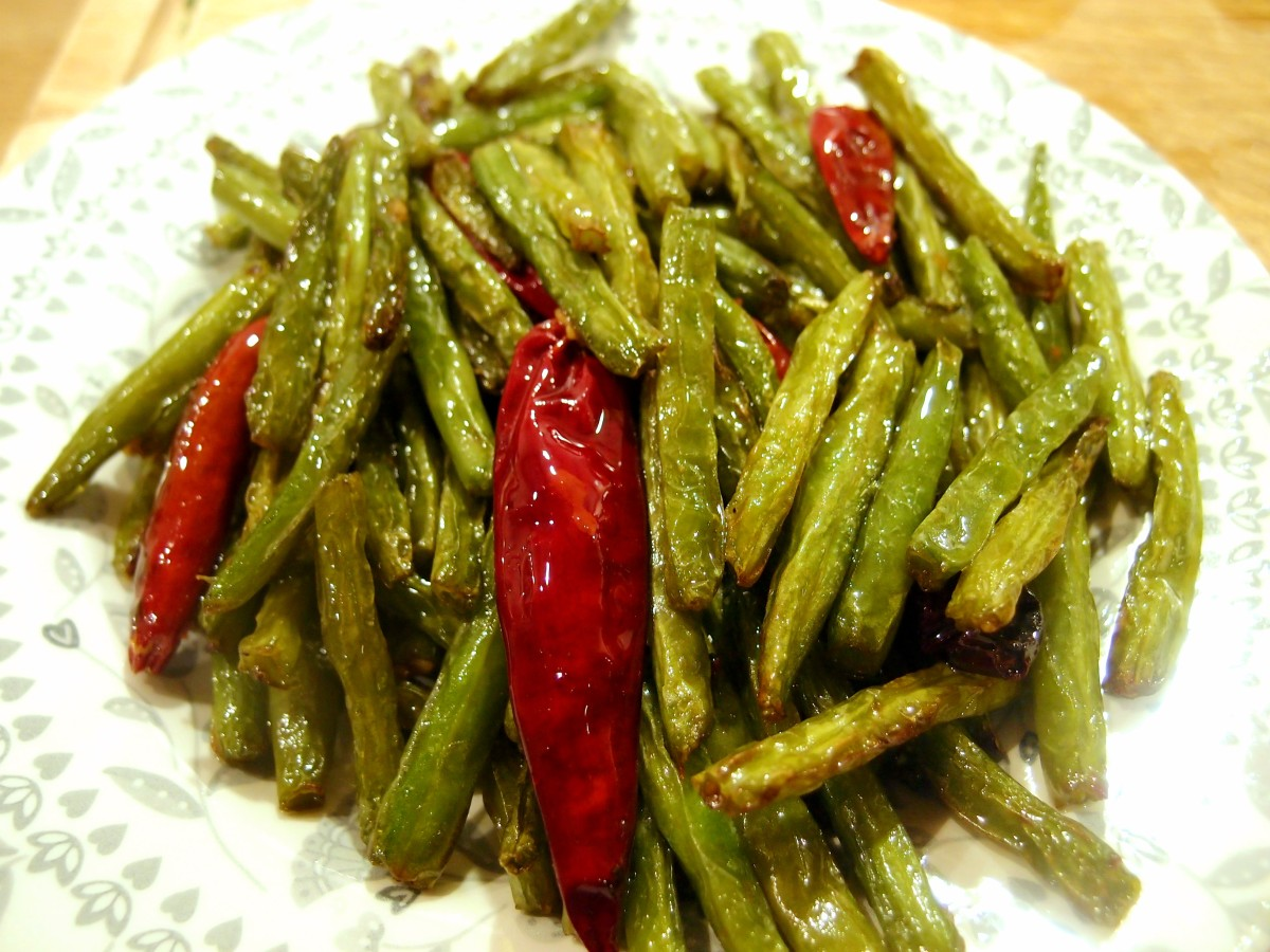 Dry fried green beans with chilli (gan bian sijidou) – a simple ...