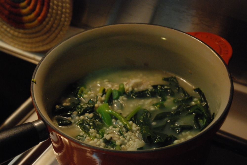 Barley_risotto_gai lan_chinese broccoli_recipe
